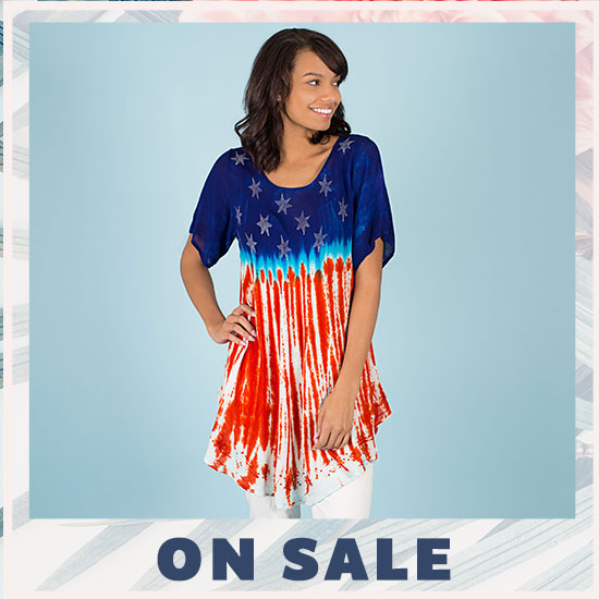Stars & Stripes Short Sleeve Tunic - On Sale