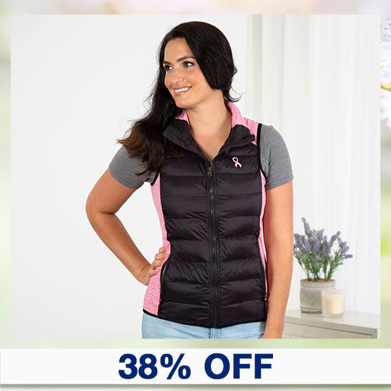Pink Ribbon Women's Quilted Vest - 38% OFF
