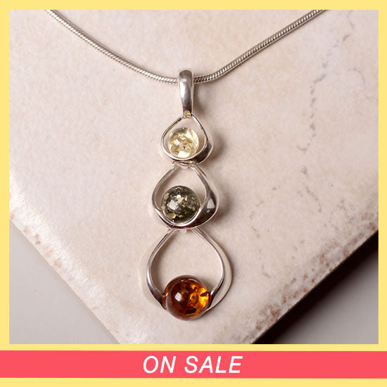 Loops of Amber & Sterling Necklace - On Sale