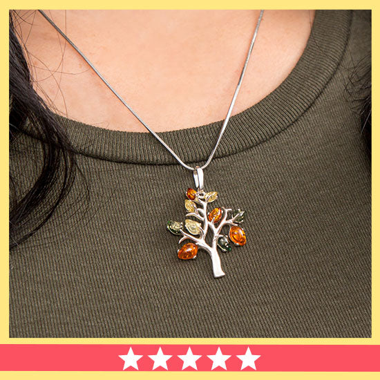 Tree of Life Amber & Sterling Necklace - ★★★★★