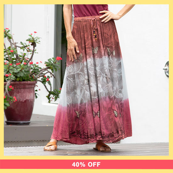 Butterflies at Play Maxi Skirt- 40% OFF