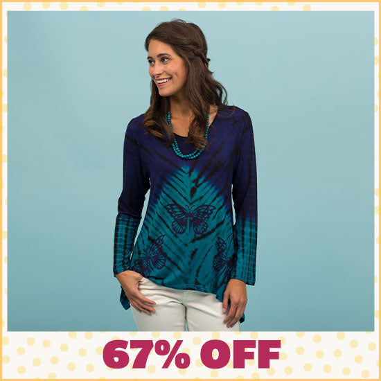 Butterfly Blues Tunic - 67% OFF