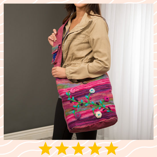 Hand-Embroidered Floral Knit Bag - ★★★★★
