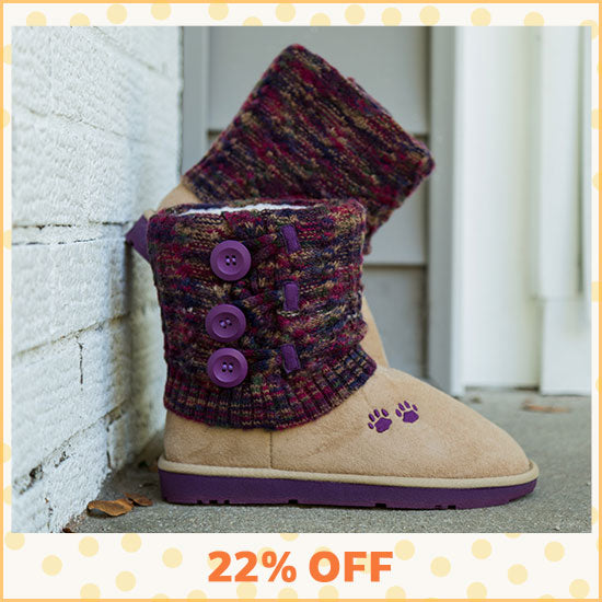 Purple Paw Multicolored Knit Mid Rise Boots - 22% OFF