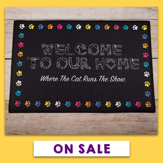 Cat Runs the Show Recycled Door Mat - On Sale