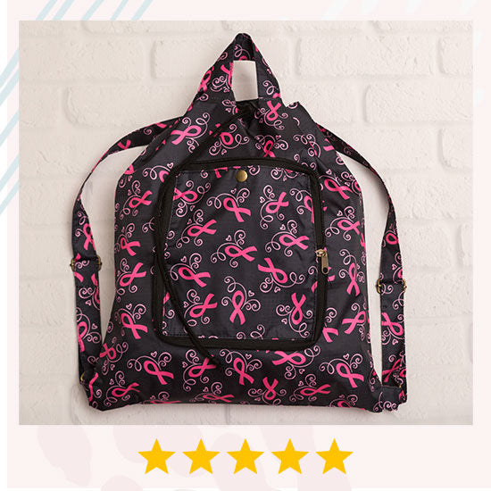 Pink Ribbons & Hearts Packable Backpack - ★★★★★