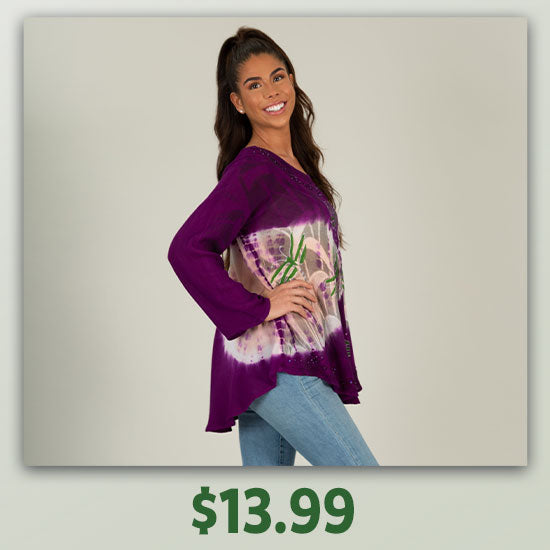 Twilight Dragonfly Long Sleeve Tunic - $13.99