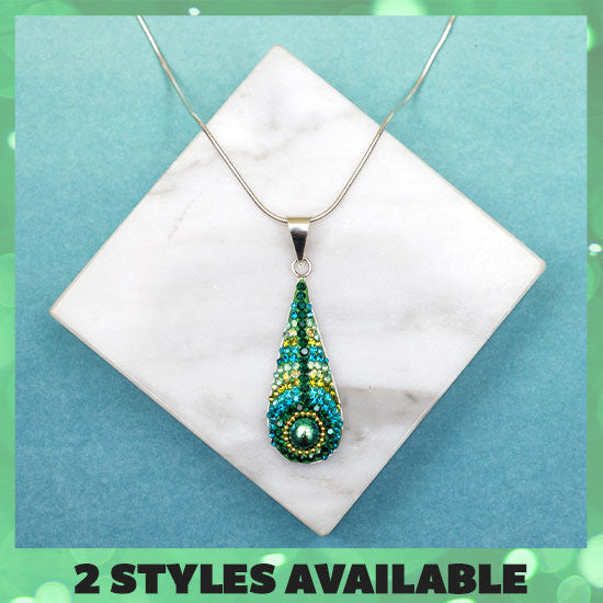 Peacock Mosaic & Sterling Necklace - 2 Styles Available