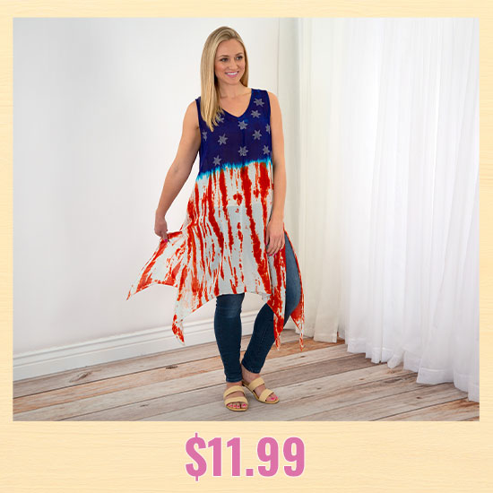 Stars & Stripes Sleeveless Tunic Dress - $11.99