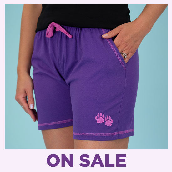 Paw Print Contrast Casual Shorts - On Sale