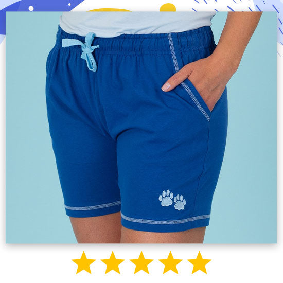Paw Print Contrast Casual Shorts - ★★★★★