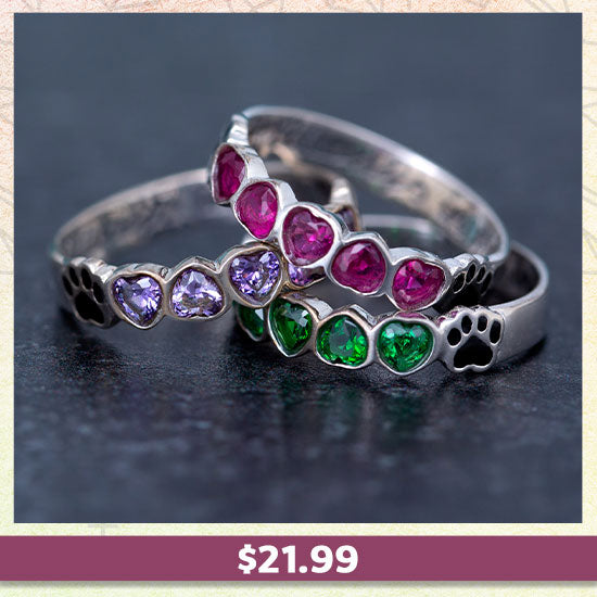 Sterling Stackable Paw Print Birthstone Ring - $21.99
