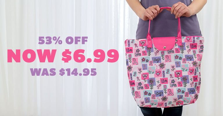 Pink Ribbon Love Folding Tote | 53% OFF | Was $14.95 | Now $6.99