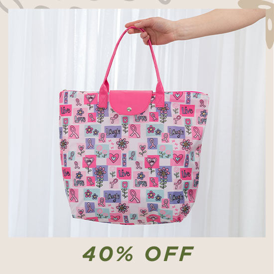 Pink Ribbon Live Laugh Love Breast Cancer Tote - 40% OFF