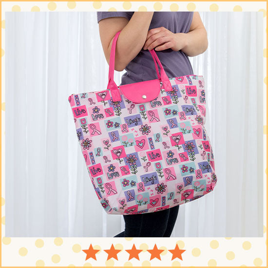 Pink Ribbon Live Laugh Love Breast Cancer Tote - ★★★★★