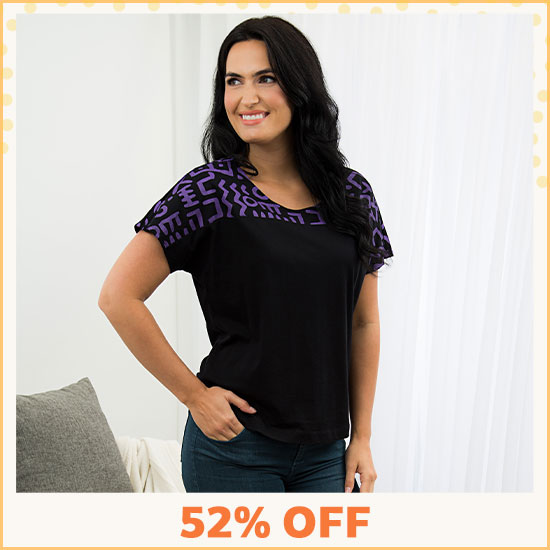 Textile Traditions Printed Plum Top - 52% OFF