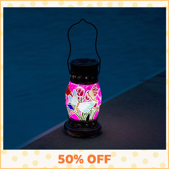 Painted Dragonfly Solar Lantern - 50% OFF
