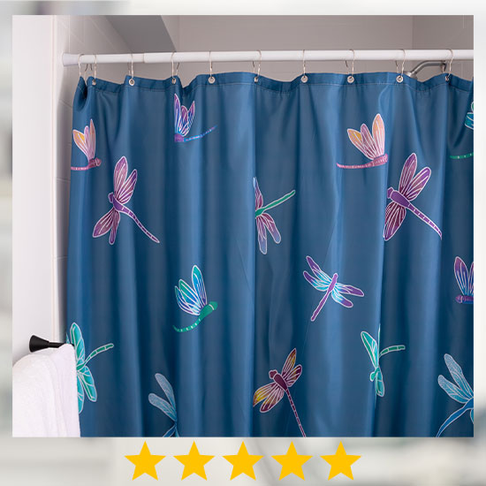 Fluttering Beauty Dragonfly Shower Curtain - ★★★★★