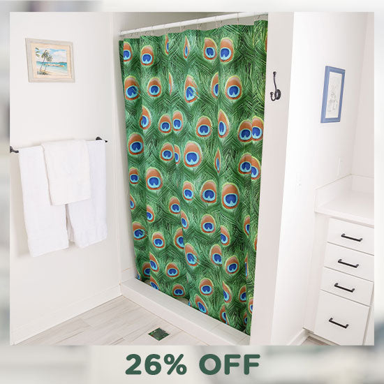 Emerald Peacock Shower Curtain - 26% OFF