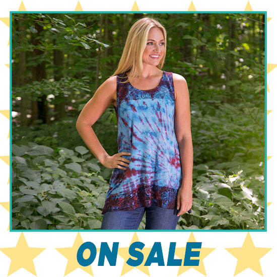 Tie-Dye Lace Sleeveless Tunic - On Sale
