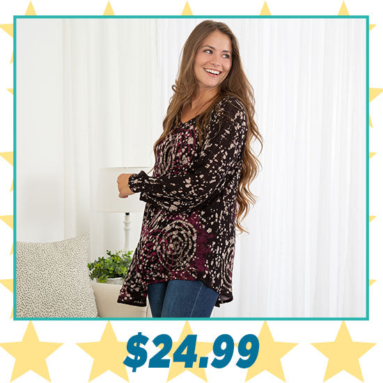 Mystic Rose Long Sleeve Tunic - $24.99