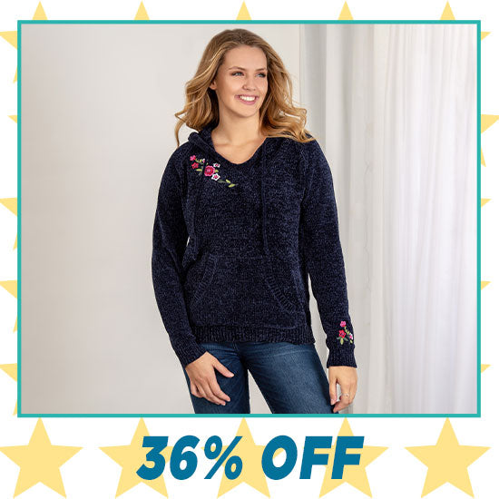Embroidered Flower Chenille Sweater - 36% OFF