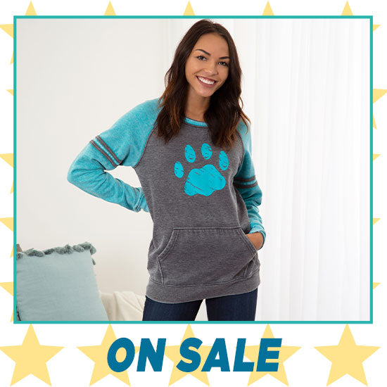 Paw Stripe Burnout Crewneck Sweatshirt - On Sale