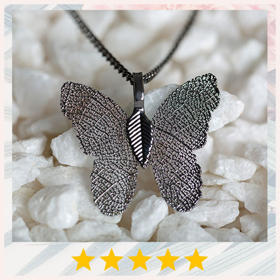 Lustrous Leaf Butterfly Necklace - ★★★★★