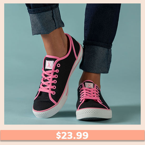 Pink Ribbon Breast Cancer Sneakers - $23.99