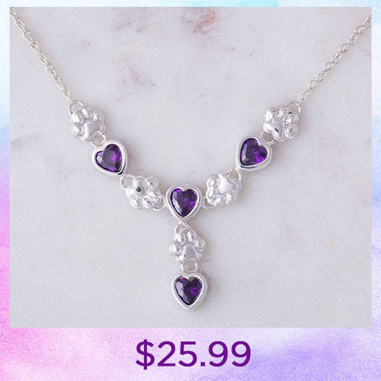 Amethyst Hearts & Paws Sterling Drop Necklace - $25.99