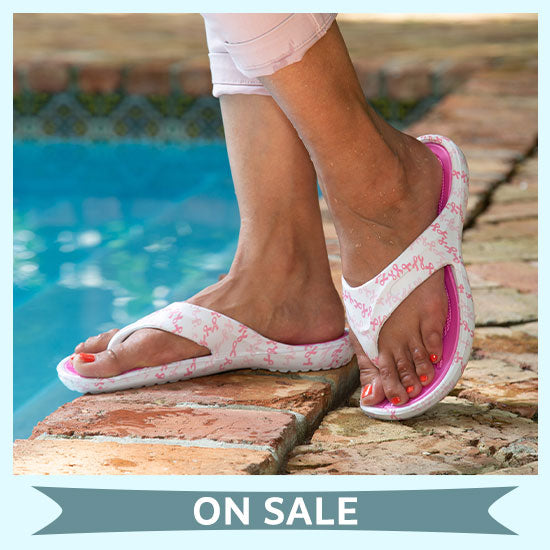 On the Town Pink Ribbon Flip Flops - On Sale