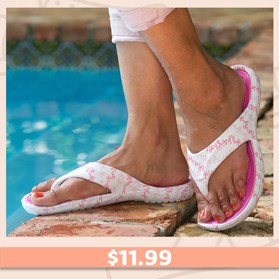 On the Town Pink Ribbon Flip Flops - $11.99
