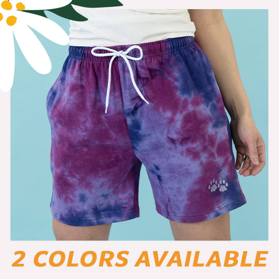 Purple Paw Tie-Dye Casual Shorts - 2 Colors Available