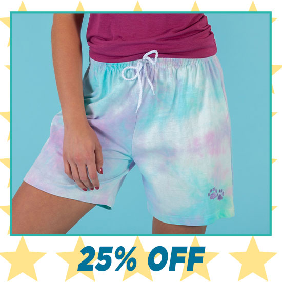 Purple Paw Tie-Dye Casual Shorts - 25% OFF