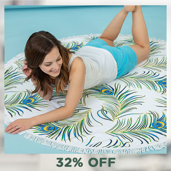 Peacock Feather Round Beach Towel - 32% OFF