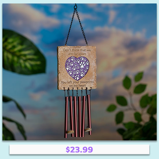 Paw Prints On My Heart Memorial Wind Chime - $23.99