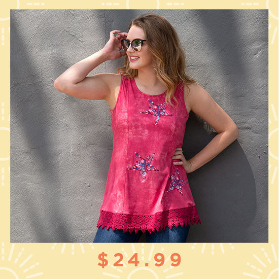 Embroidered Stars Lace Trim Tunic - $24.99