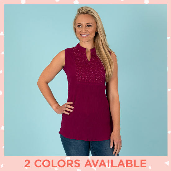 Sparkling Sleeveless Tuxedo Tunic - 2 Colors Available
