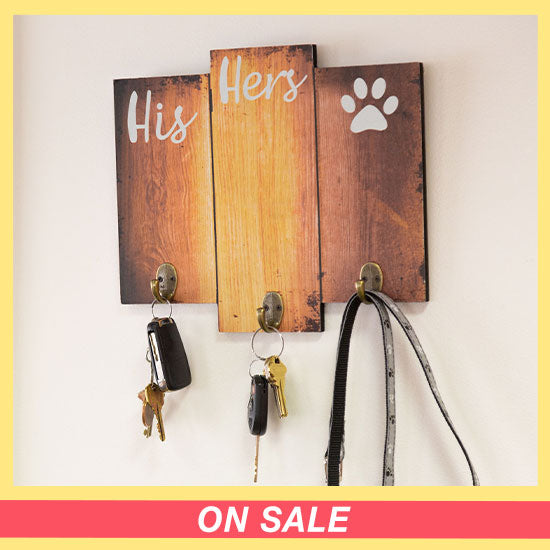 His Hers & the Dog Key & Leash Holder - On Sale