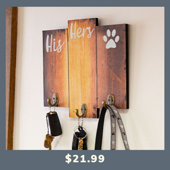 His Hers & the Dog Key & Leash Holder - $21.99