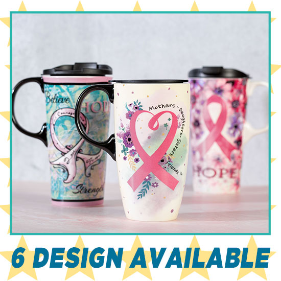 Pink Ribbon Gift Boxed Ceramic Travel Mug - 6 Designs Available