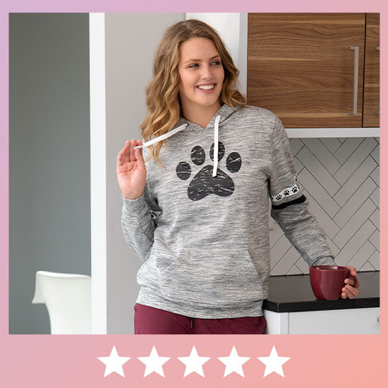 Paws & Stripes Heathered Pullover Hoodie - ★★★★★