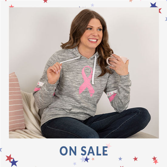 Pink Ribbons & Stripes Heathered Pullover Hoodie - On Sale