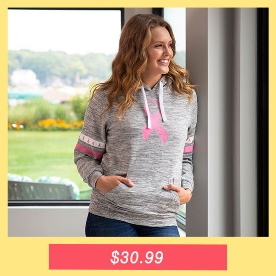 Pink Ribbons & Stripes Heathered Pullover Hoodie - $30.99