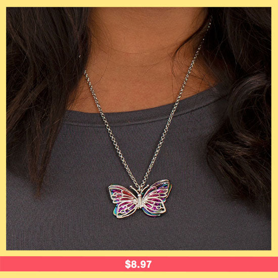 Flying Free Rainbow Butterfly Necklace - $8.97