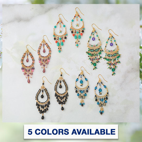 Dazzling Beaded Chandelier Earrings - 5 Colors Available
