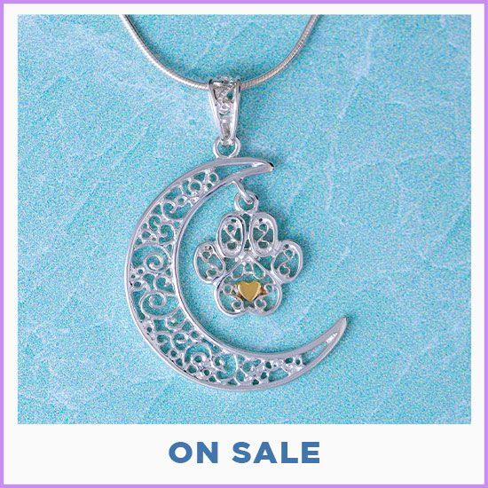 Filigree Moonlight Paw Sterling Necklace - On Sale