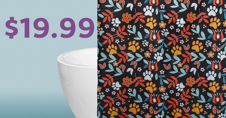 Floral Sunrise Paw Print Shower Curtain | $19.99