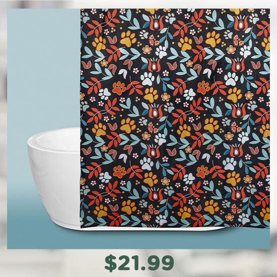 Floral Sunrise Paw Print Shower Curtain - $21.99