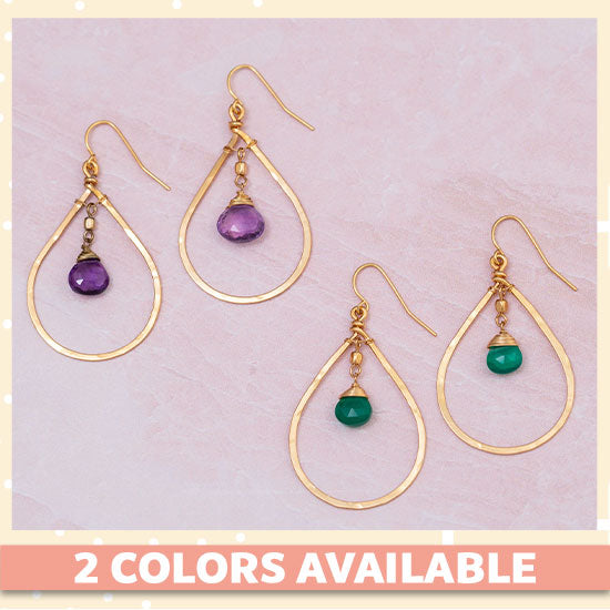 Gemstone Hoop Gold-Filled Earrings - 2 Colors Available
